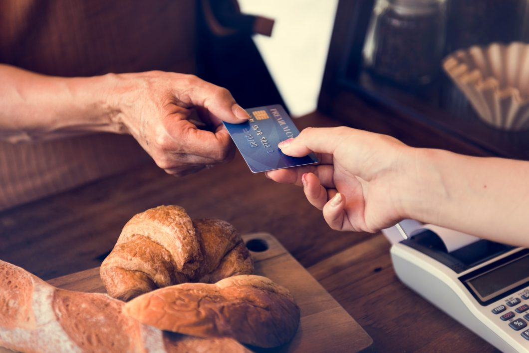 small bakery business buying customer with credit card