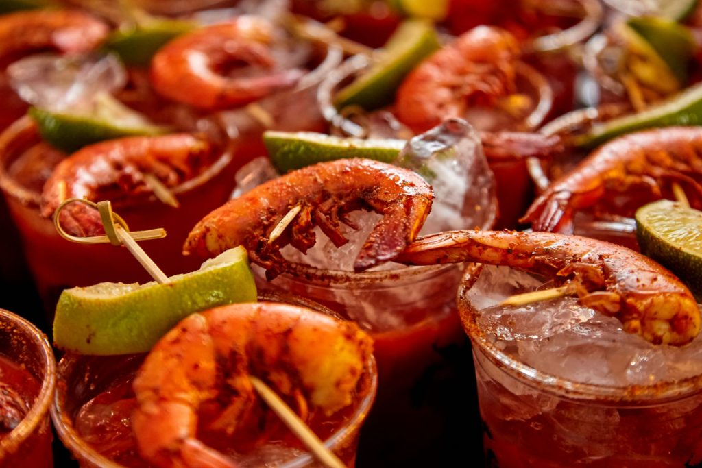 Shrimp bloody marys at the Denver Bloody Mary Festival