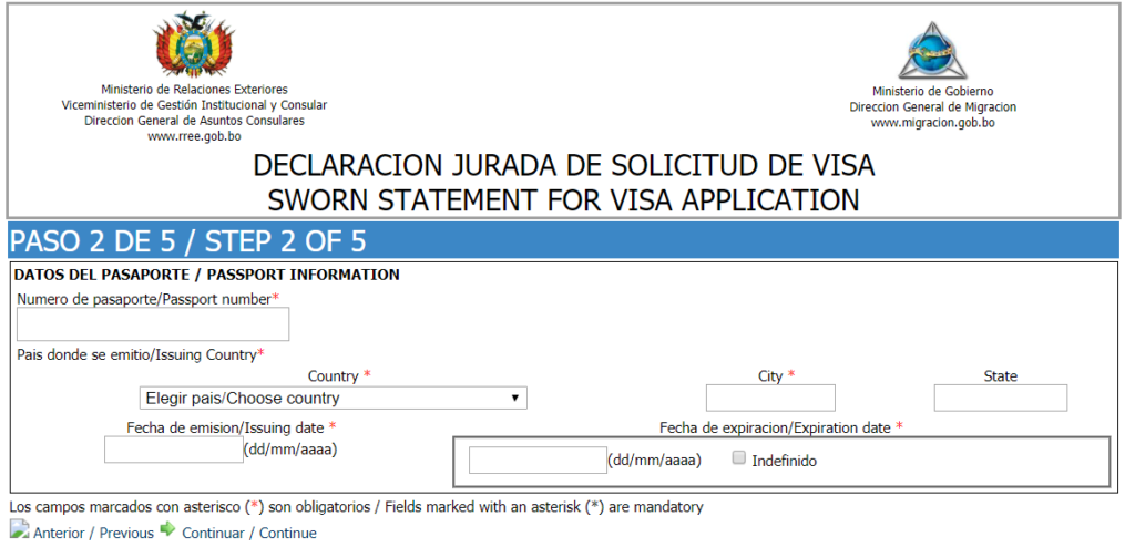 Sworn statement for visa application - step 2 of 5
