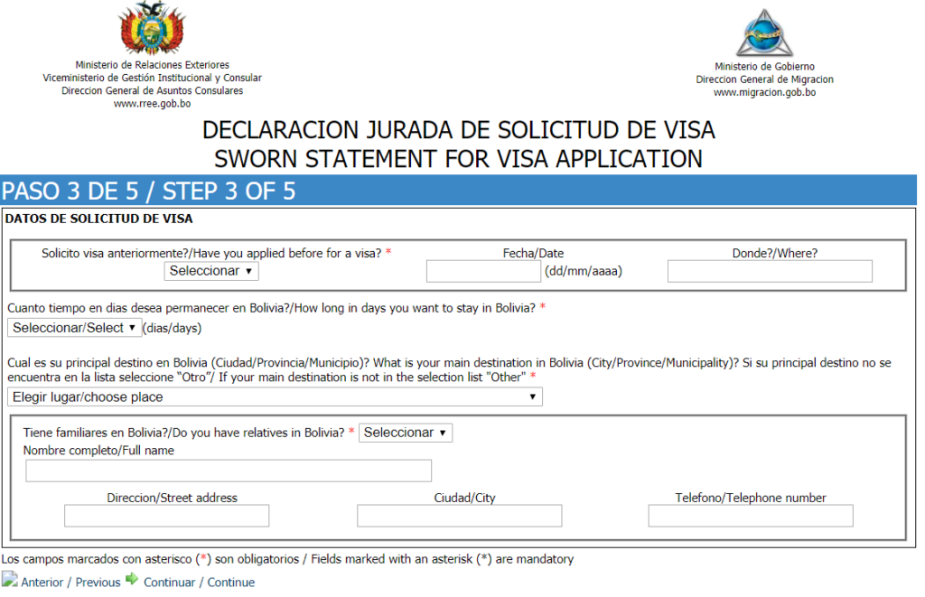 Sworn statement for visa application - step 3 of 5