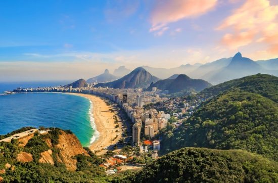 Aerial view of famous Copacabana Beach and Ipanema beach in Rio de Janeiro, Brazil
