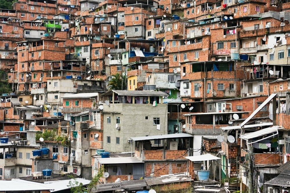 Favela in Rio de Janeiro Brazil with many houses stacked close and on top of one another
