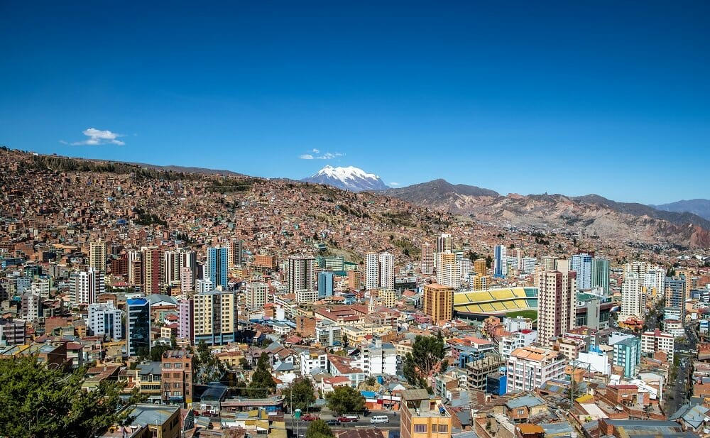 Aerial view of La Paz Bolivia with Illimani Mountain in the background