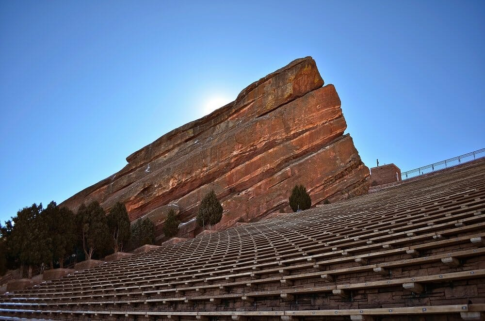 Stairs and large rock formation at Red Rocks amphitheater near Denver, CO