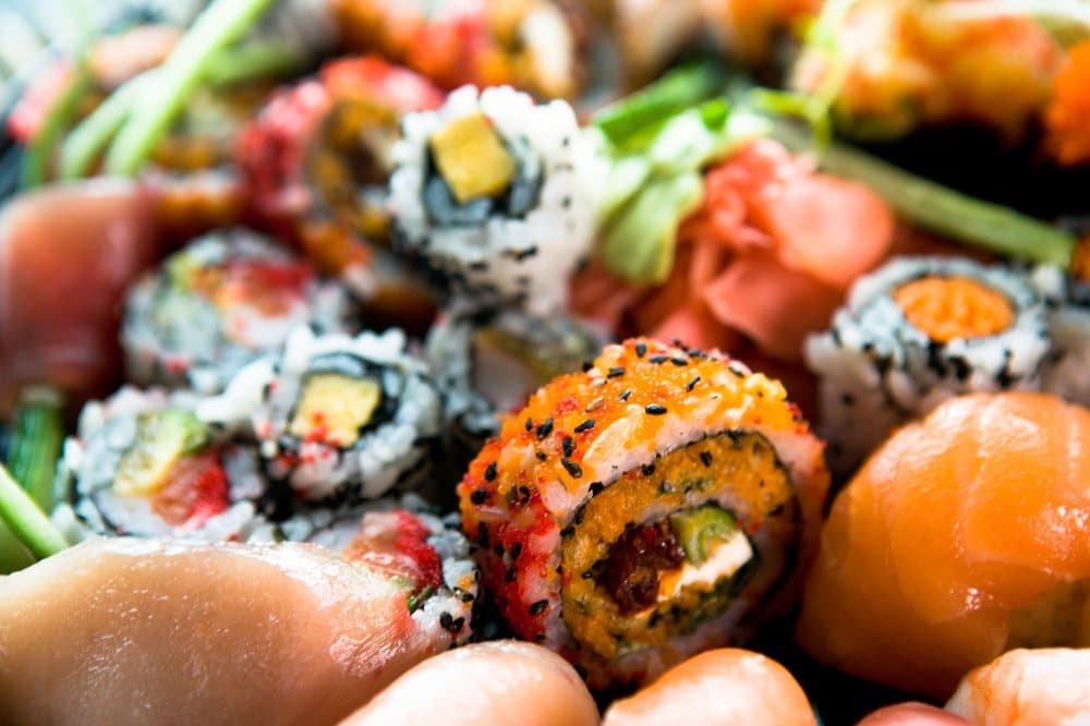 An assortment of colorful sushi
