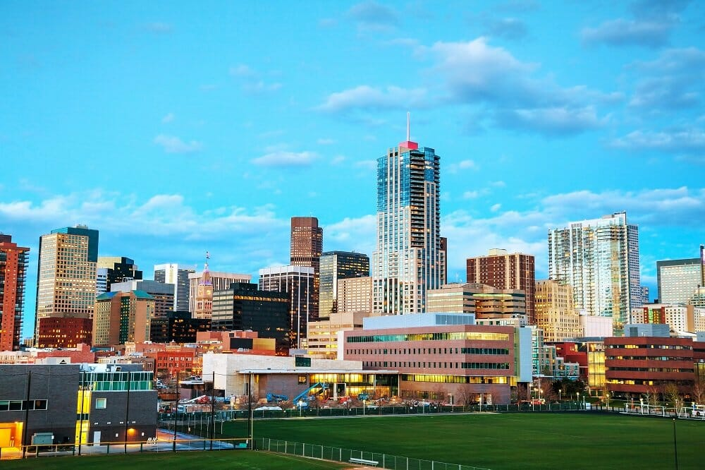 The downtown Denver skyline nearing dusk