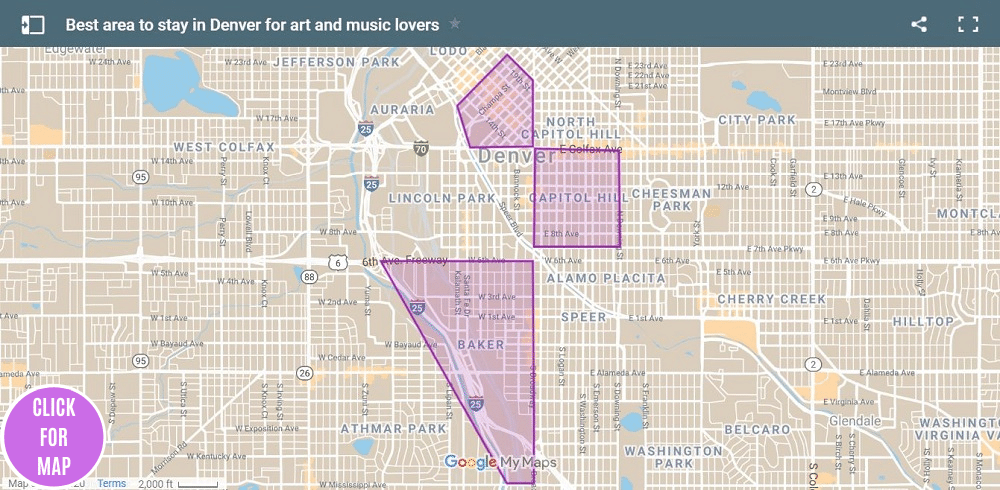 A map highlights some of the best areas to stay in Denver for people who love art and music
