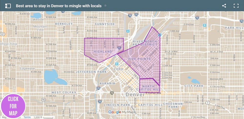 A map highlights some of the best areas to stay in Denver to mingle with the locals