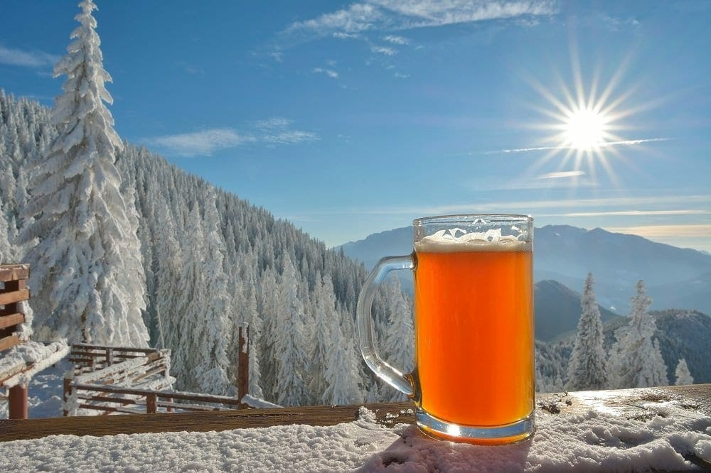 A full beer stein sits on a snow covered railing; snow covered trees and mountain tops in the background