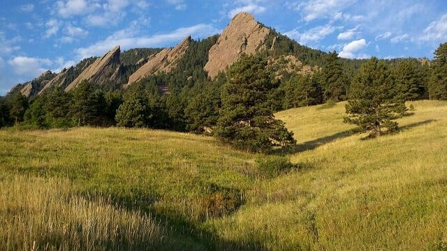 The flat irons of Chautauqua Park in Boulder, CO with pine trees, yellow grass and blue (but cloudy) skies