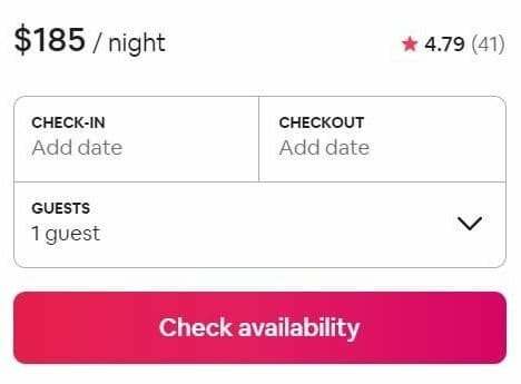 Airbnb tips for guests screenshot of example pricing for a property ($185/night) with no check in/out or number of guests entered.