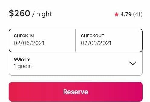 Airbnb tips for guests screenshot of example pricing for a property ($260/night) from 2/6/2021 - 2/9/2021 but no number of guests entered.