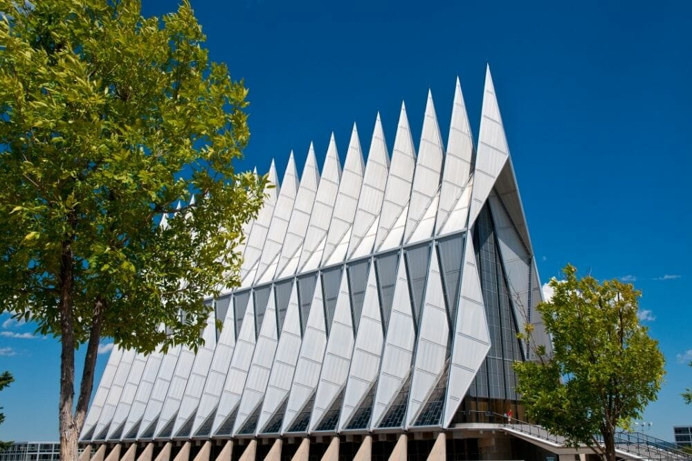 The Air Force Academy Cadet Chapel building