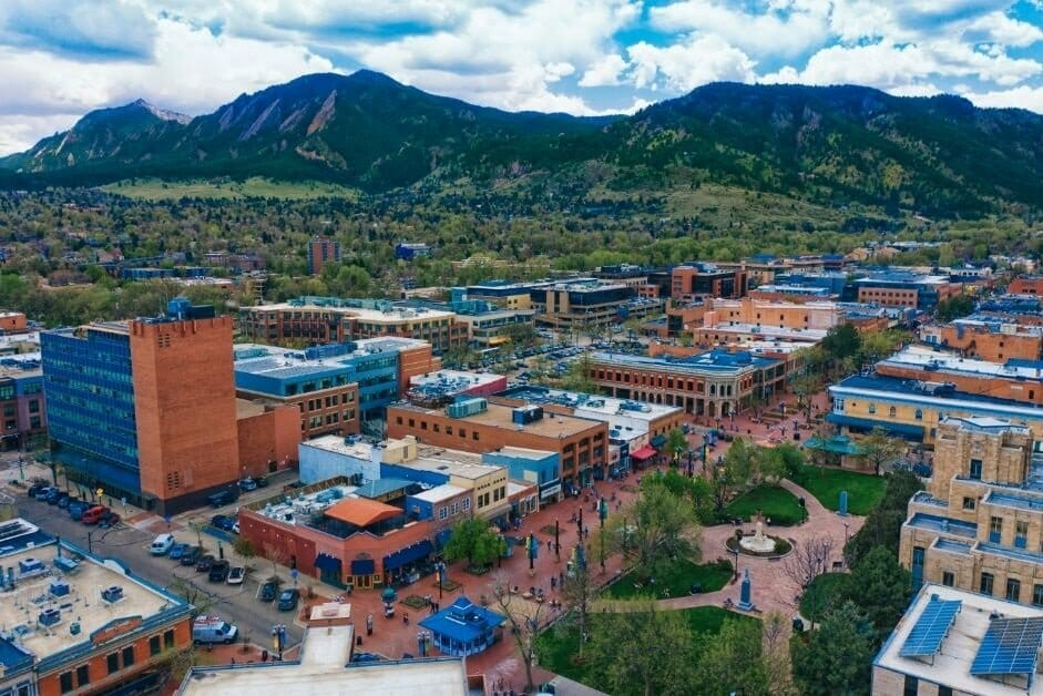 Aerial view of the Pearl Street Mall in Boulder; mountains in the background